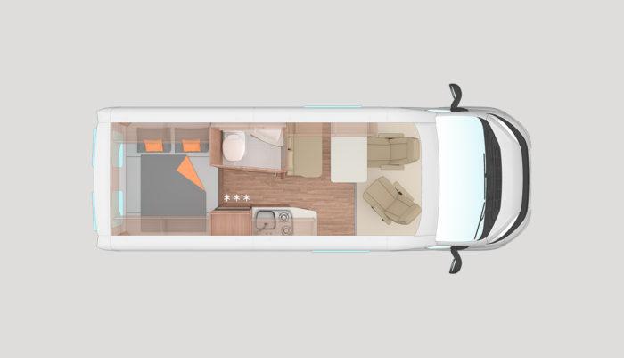 Půdorys karavan Weinsberg CaraBus 601 MQ EDICE FIRE